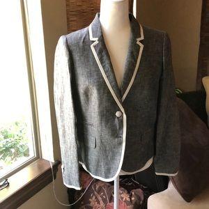 JCrew Tipped Linen schoolboy blazer